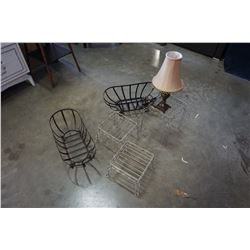 METAL BASKETS AND TABLE LAMP