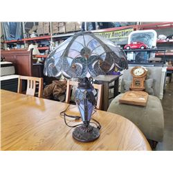 LEADED GLASS TABLE LAMP W/ LEADED GLASS BASE