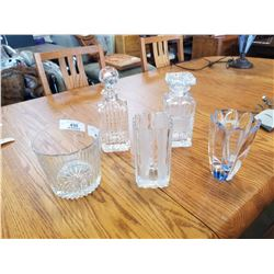 CRYSTAL DECANTERS, ICE BUCKET, AND VASES