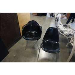 METAL BASE PLASTIC BUCKET SEAT AND BLACK CHAIR WITH METAL FRAME