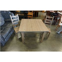 PINE DINING TABLE AND 2 CHAIRS