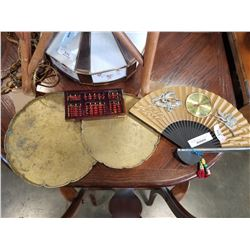 2 BRASS CHINESE TRAYS, CHINESE FAN, THERMOMETER, AND COUNTER