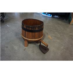 ANTIQUE CASK/KEG ON STAND AND IRON