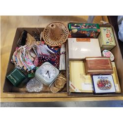WESTCLOX DRESSER CLOCK, COLLECTABLES, WOOD BOXES, AND TINS