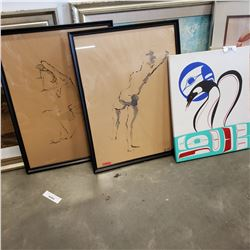 2 OHANIEMI LITHOGRAPHS AND NATIVE PAINTING