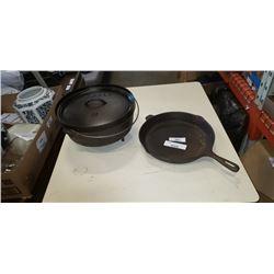 LODGE 12 CAST IRON COOK POT AND PAN