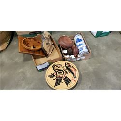 EASTERN DECORATIONS, BOWL, FIRST NATIONS LIDDED BOX AND CARVING