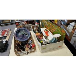 STARWARS TOYS, STARTREK COLLECTIBLES, NEW LEGO SET, AND BOX OF TOYS