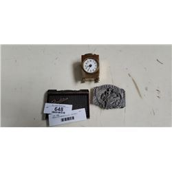 MINIATURE BRASS CLOCK AND 2 BELT BUCKLES, FENDER AND CALGARY