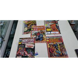 FIVE 15c TO 20c COMICS, 1969 SGT ROCK, 1970 MANHUNTER, 1971 RAWHIDE KID, 1972 KID COLT, 1973 MONSTER