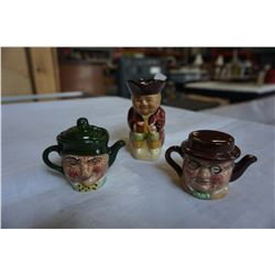 3-1/2 INCH TOBY MUG AND 2 MINIATURE HAND PAINTED DOUBLE FACE TEA POTS