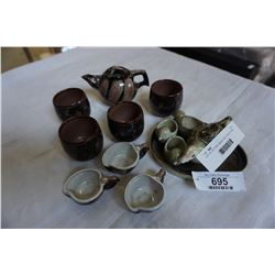 LOT OF POTTERY MINIATURE TEAPOT AND CUPS