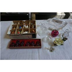 CRYSTAL AND GLASS FIGURES SET OF BUDDAHS AND MINI FIGURES