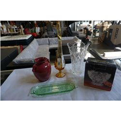 CRYSTAL VASE, BOWL, DEPRESSION GLASS TRAY,  AND ART GLASS VASE