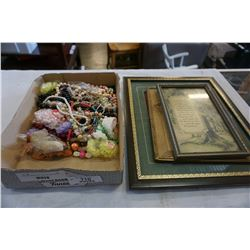 TRAY OF JEWELLERY AND VINTAGE PRINTS