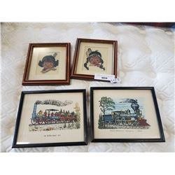 2 VINTAGE PRINTS AND 2 NATIVE NEEDLE POINTS