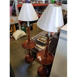 2 MAPLE FLOOR LAMP ENDTABLES