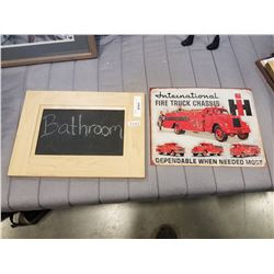 INTERNATIONAL FIRE TRUCK TIN SIGNS AND CHALK BOARD