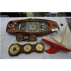 NAUTICAL SHADOW BOX CLOCK, STAR YACHT, VINTAGE WOOD BOAT TOY,  BARAMETER, AND NAUTICAL CLOCK