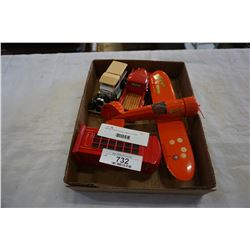 REESE PIECES REVELL METAL PLANE, METAL TELEPHONE, BOOTH COIN BANK, AND 2 CHEVY TRUCKS