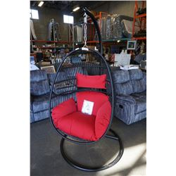 BRAND NEW OUTDOOR RATTAN TEAR DROP HANGING CHAIR W/ RED CUSHIONS - RETAIL $799
