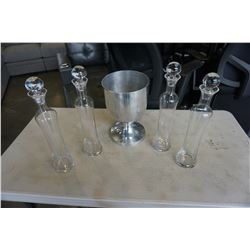 4 DECANTERS AND ICE BUCKET