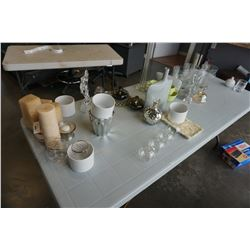LOT OF CANDLES AND VASES