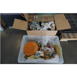 BOX OF GLASSES AND TOTE OF PLATES