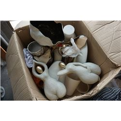 BOX OF VASES AND HOUSEHOLD DECOR