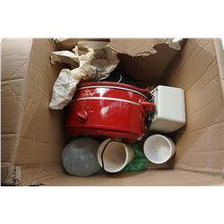 BOX OF KITCHEN APPLIANCES, PLATTERS AND ESTATE GOODS