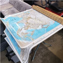 Encapsulated world maps and bamboo roll up shade