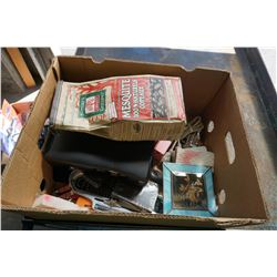 BOX OF ESTATE ITEMS, XBOX 360 UNTESTED, COLLECTIBLES, ETC
