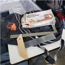 Reciprocating saw, 2 squares and BC Lions bag
