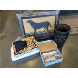 3 BASKETS, LABRADOR INN PRINT, KNIVES IN CUTTING BLOCK, BEADED CUSHION AND ESTATE GOODS