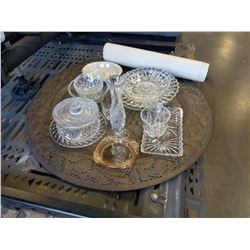 BRASS PLATTER AND CRYSTAL DISHES