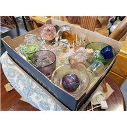 ART GLASS PERFUME BOTTLES, TRAYS, PAPER WEIGHTS