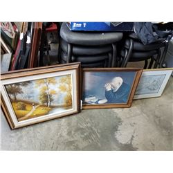 THREE FRAMED PICTURES, ONE IS PAINTING