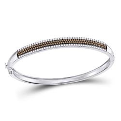 1 & 3/8 CTW Round Brown Diamond Bangle Bracelet 14kt White Gold - REF-137W9F
