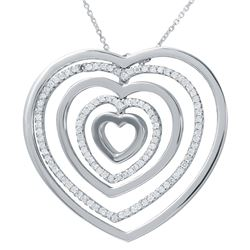 0.94 CTW Diamond Necklace 18K White Gold - REF-139K2W