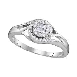 1/5 CTW Princess Round Diamond Cluster Bridal Wedding Engagement Ring 10kt White Gold - REF-21R5H