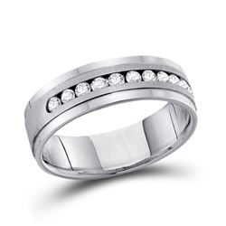 1/2 CTW Mens Machine Set Round Diamond Wedding Channel Ring 14kt White Gold - REF-81H3W