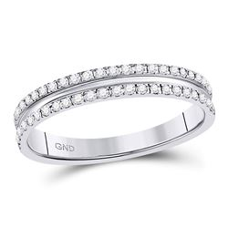 1/4 CTW Round Diamond Double Row Comfort Wedding Ring 14kt White Gold - REF-33F3M