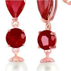 Genuine 10.10 ctw Ruby & Pearl Earrings 14KT Rose Gold - REF-55F3Z