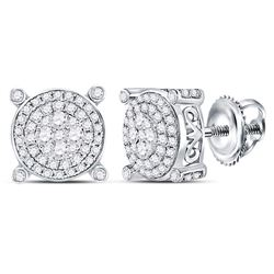 1/2 CTW Round Diamond Circle Frame Cluster Earrings 14kt White Gold - REF-47K9R