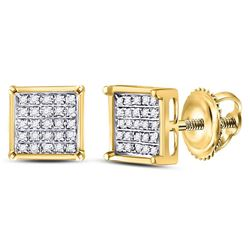 1/6 CTW Round Diamond Square Cluster Earrings 14kt Yellow Gold - REF-10F8M