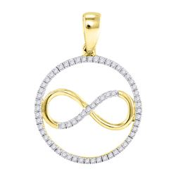 1/4 CTW Round Diamond Infinity Circle Pendant 10kt Yellow Gold - REF-14K4R