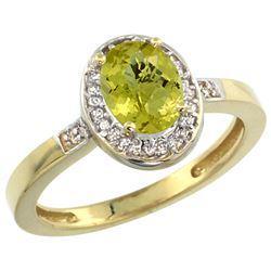 1.15 CTW Lemon Quartz & Diamond Ring 14K Yellow Gold - REF-37M6A