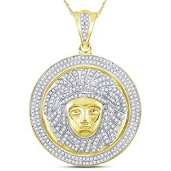 1 CTW Mens Round Diamond Gorgon Medusa Circle Medallion Charm Pendant 10kt Yellow Gold - REF-75R5H