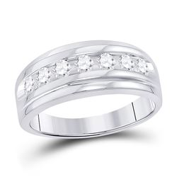 7/8 CTW Mens Round Diamond Wedding Channel-Set Ring 10kt White Gold - REF-63M3A