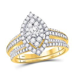 1 CTW Round Diamond Bridal Wedding Engagement Ring 14kt Yellow Gold - REF-101T9K